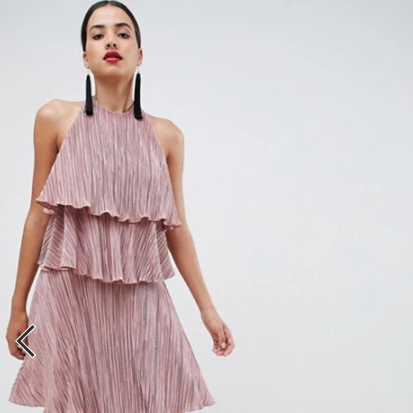 ASOS DESIGN tiered plisse maxi dress